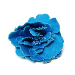 chunky blue flower statement brooch
